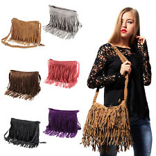 Faux Suede Layered Fringed Shoulder Bag Women Bag Cross Body Bag Messenger