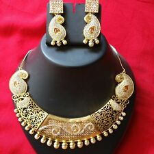 Indian Ethnic Bridal Wedding PartyWear CZ AD Stone Necklace Earring Jewelry Set