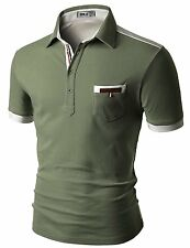 Mens Polo T-Shirt CMTTS0142 25 Doublju back color blocked short sleeves