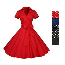 lady Retro Chic Polka Dots Party Cocktail Pinup Rockabilly Swing Dress Sundress
