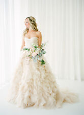 Tiered Blush Weddng Dresses Spring Autumn Bridal Dress Custom Size 2 4 6 8 10 12