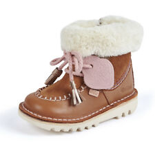 Kickers Kick Fur Wallee I Light Tan Suede Infant Ankle Boots