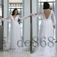 Plus Wedding Dresses Bridal Gowns A Line Long Sleeves Sheath V Neck Lace Formal