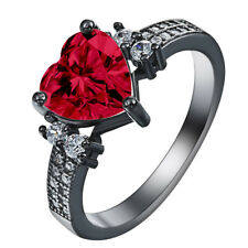 Lovely Women's 18k Black Gold Filled Red Ruby Wedding Ring Jewelry Gift Size5-11