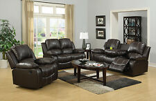 Modern Style 3+2 Sofa Set Loveseat Couch Recliner Leather w/ Dropdown Cup holder