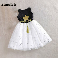 Princess Girl Dress Star Printed Sequined Sleeveless Kids Party Gown With Belt