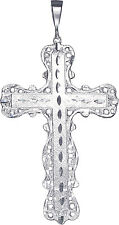 Huge Heavy Sterling Silver Cross without Jesus Pendant Necklace 4.6 Inch 24 Gram