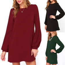 Womens Casual Long Sleeve Loose Dress Party Evening Cocktail Short Mini Dress
