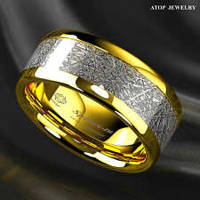 8mm 18k Gold Dome Tungsten ring Fine Silver Inlay Wedding Band Ring ATOP Jewelry