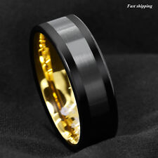 8mm Black Tungsten Carbide Ring Brushed Wedding Band 18K Gold ATOP mens jewelry
