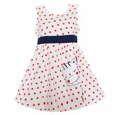 New Girls Dress White Dot Cat Party Pageant Casual Baby Children Clothes