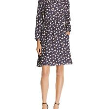NEW REBECCA TAYLOR WOMENS FLORAL RUFFLE-NECK SILK DRESS