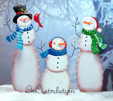Snowman Family Mom Dad Child Metal Weather Resistant Christmas Yard Decor NEW