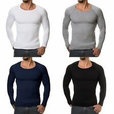 Bodycon Men's Round Neck Cotton T-shirt Slim Fit Long Sleeve Solid Color Casual