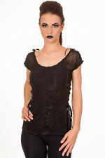 Ladies Black Gothic Retro Spider Web Lace Top Tee Halloween Goth Punk Emo