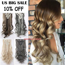 100% Real Natural Hair 8 Pieces Full Head Clip In Hair Extensions Long as humans