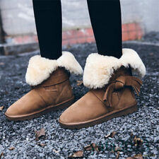 Fashion Womens Woolen Fur Tassel Bow Snow Winter Leather Ankle Boots Flats Shoes