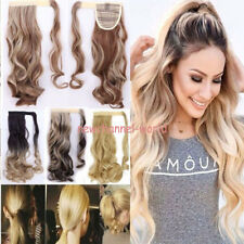 US 100% Natural Long New Clip In Hair Extensions Wrap Around Ponytail as humans