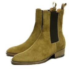 Mens Pull On High Top Ankle Chelsea Boot Casual Roma New Suede Pointy Toe Shoe