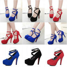 2017 New Womens Ankle Strap Platform Stiletto Wedding High Heels Pumps Shoes