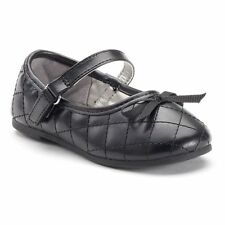 Jumping Beans Toddler Girls Quilted Mary Jane Shoes Black size 5 7 8 9 10 NEW