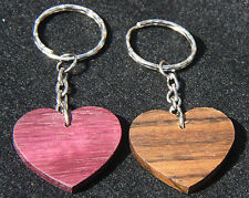 Hand Crafted Wooden Heart Key Fob and Keyring - Gift Purpleheart / Ovangkol