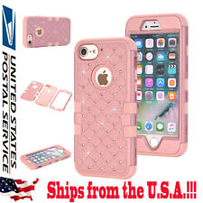 Hybrid Hard Case Shockproof Bling Diamond Cover Impact Protection for iPhone 7