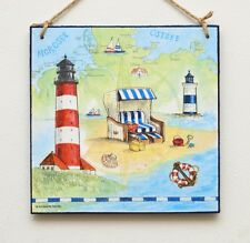 Wall hanging plaque/picture Vintage Beach Cottage, Huts, Lighthouse, seaside