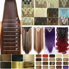 US Full Head Women Clip in 100% Real as Human Hair Extensions 17-26inch Straight
