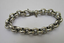 Stunning Sterling Silver Oxidized Heavy Bracelet 12mm Rolo Chain an Secure Clasp