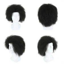 Short Fluffy Synthetic Afro Kinky Curly Wigs for Men Natural Black/Brown/Red Wig