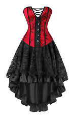Vintage Retro Victorian Lace up Brocade Boned Bustier Corset and Skirt Set