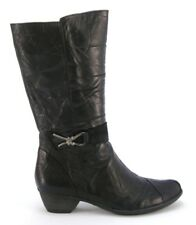 DORKING by Fluchos Nina Womens Black Leather Mid Boot, Made in SPAIN, $260