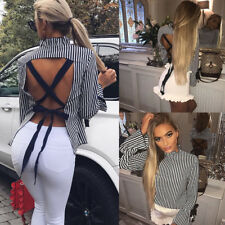 Casual Loose T-shirt Ladies Blouse Tops  Fashion Women Long Sleeve Sexy Backless