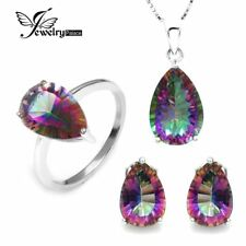 4.5ct Gem Stone Rainbow Topaz Pendant Ring Earring Set 925 Sterling Silver
