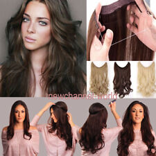 US No Clips Headband Wire Hairpiece Hair Extensions 3/4 Full Head human Straight