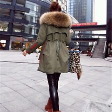 Women Fur Winter Coat Parka Jacket Raccoon Collar Hooded Real Large Warm Hood