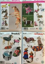Simplicity 1239, 1578, 8277, 8538 Dog Clothing Asst. Styles/Sizes You Pick!