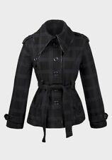 Ladies Womens High Quality Check Design Reg. fit Belted Jersey Coat - S M L XL