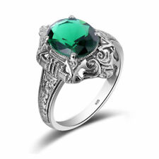 Emerald Ring Genuine 925 Silver Rings Victorian Jewelry Green Stone Punk Band