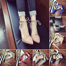 Fashion Women Block Kitten High Heels Suede Point toes Shoes Pumps Pointed Shoes