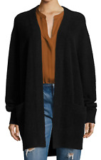 $495 NWT VINCE 100% BOILED CASHMERE OPEN-FRONT LONG BLACK ROBE CARDIGAN SWEATER