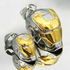 Gold/Silver Iron Helmet Stainless Steel Man Necklace Pendant Chain US Super Hero