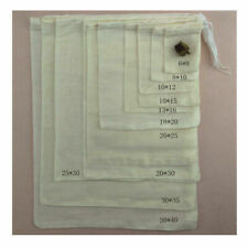"8 Sizes Cotton Muslin Drawstring Bag Soap Herbs Tea Reusable Packing Bath 3""x4"""