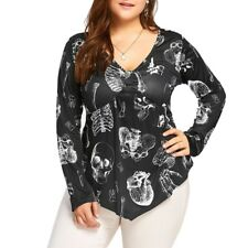 Gothic Skull Punk T-shirt Women Long Sleeve Casual Loose Plus Size Tops Blouse