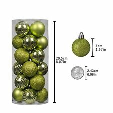Christmas Ball Ornaments Shatterproof Tree Decorations Xmas Holidays Lime Green