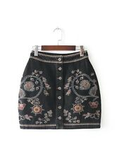 Womens Ethnic Floral Embroidery Button Blue Black Denim Mini Skirt