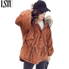 Women Fur Coat Collar Hooded Winter Jackets Zipper Parka Thick Sleeves Outwear