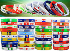 2 Unisex Country Flag Rubber Silicone  Bracelet Sport Team Soccer World Cup Cuff