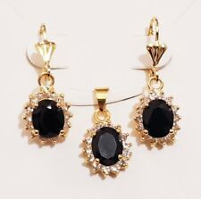 18K GOLD PLATED CZ STONE PENDANT SET DROP EARRINGS EXCELLENT QUALITY 18CT